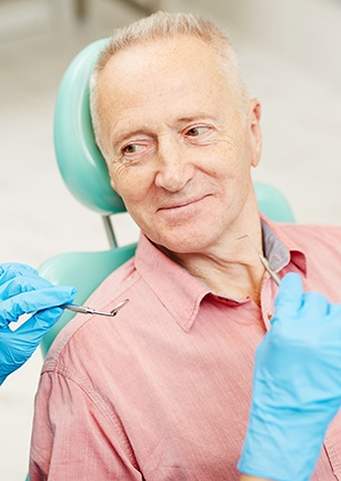 Older man in dental chair